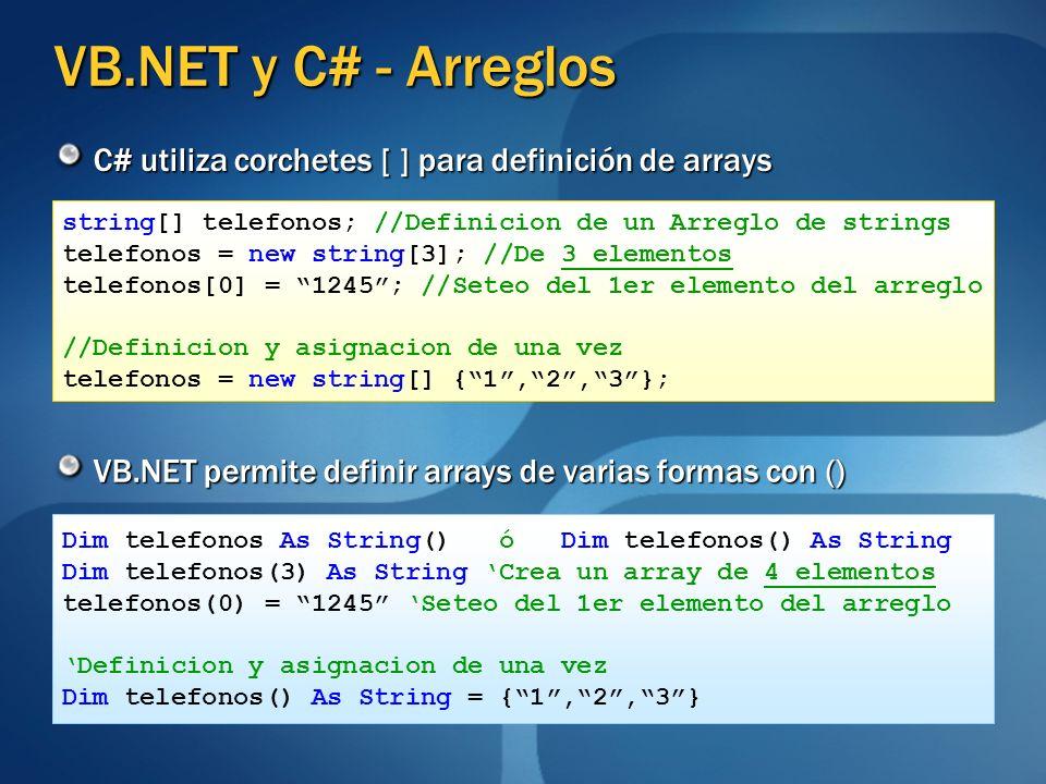 VB.NET y C# - Arreglos C# utiliza corchetes [ ] para definición de arrays. string[] telefonos; //Definicion de un Arreglo de strings.